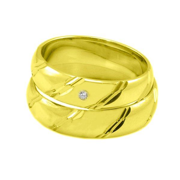Zlaté Svadobné obrúčky zo žltého zlata s gravírom a kamienkom