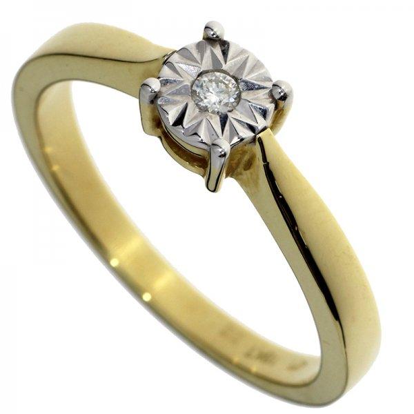 Zásnubný prsteň zo žltého zlata s briliantom