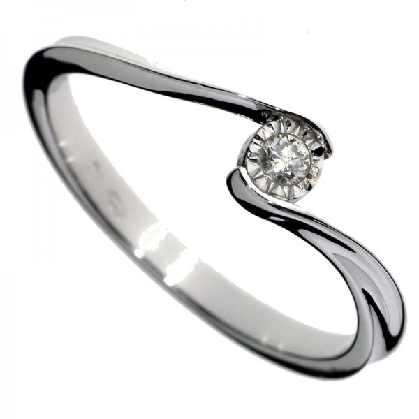 Zásnubný prsteň z bieleho zlata s briliantom - Soliter