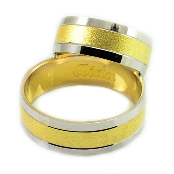 Svadobné obrúčky zbielo-žlto-bieleho zlata ploché široké 7 mm