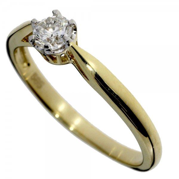 Zásnubný prsteň zo žltého zlata s jedným centrálnym briliantom - solitér