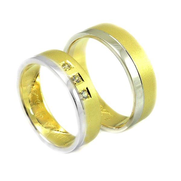Svadobné obrúčky zo žltého a bieleho zlata široké 6 mm