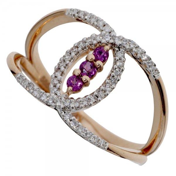 Prsteň z ružového zlata s briliantmi a rhodolitom
