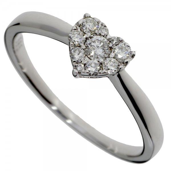 Zásnubný prsteň z bieleho zlata s briliantmi - Srdiečko