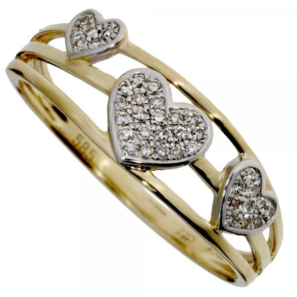 Prsteň zo žltého zlata s briliantmi - Srdiečka