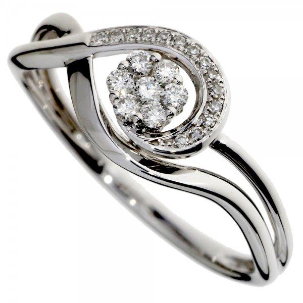 Prsteň z bieleho zlata s briliantmi - Slza s kvetom