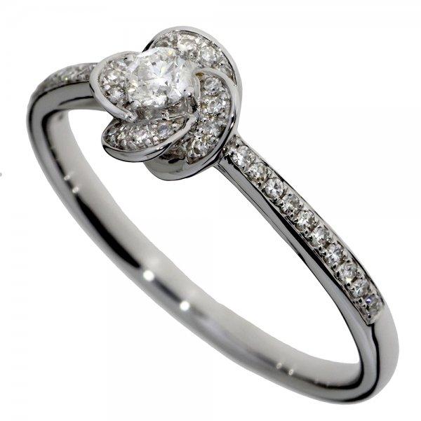 Prsteň z bieleho zlata s briliantmi - Ružička