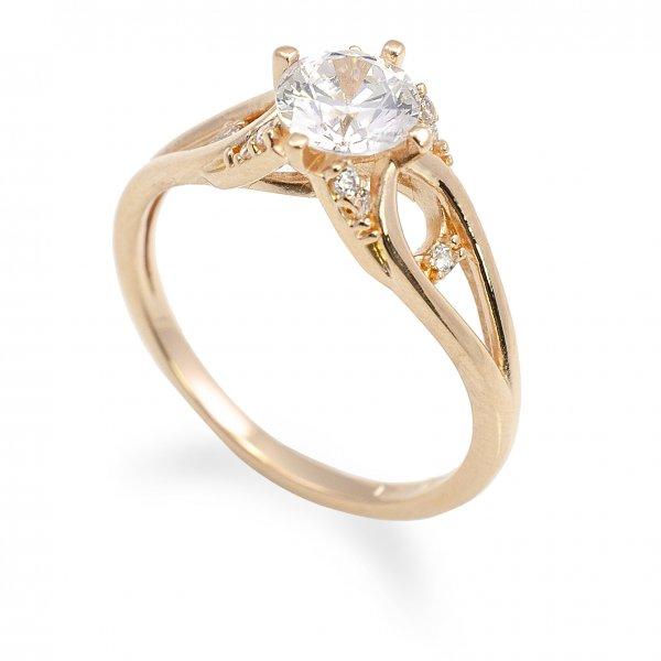 Zásnubný prsteň z červeného zlata Karin so 6mm zirkónom