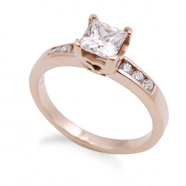 Zásnubný prsteň zo červeného zlata so 6 zirkónmi plus štvorcový kameň Jana