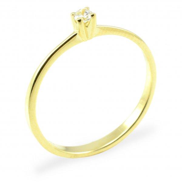 Zásnubný prsteň zo žltého zlata - centrálny zirkón 4 pracky Olivia