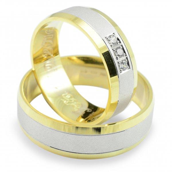 Svadobné obrúčky zo žltého a bieleho zlata tri zirkóny
