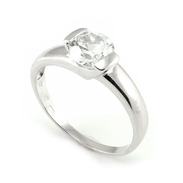 Zásnubný prsteň z bieleho zlata Zoja