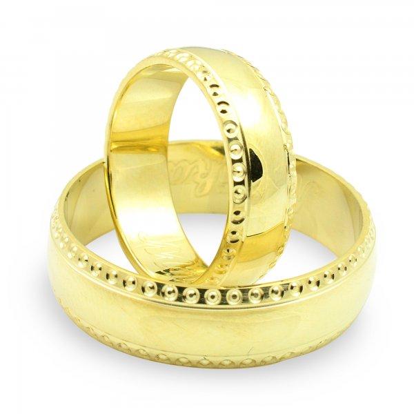 Svadobné obrúčky zo žltého zlata polguľaté široké 5,5 mm