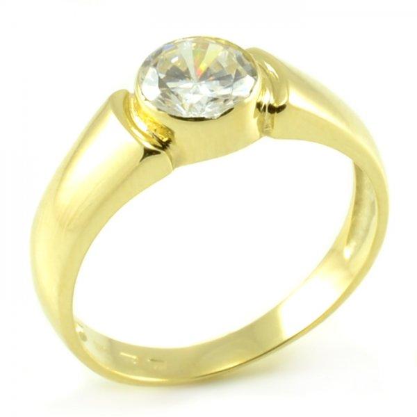 Zásnubný prsteň z masívneho žltého zlata s veľkým zirkónom Stela