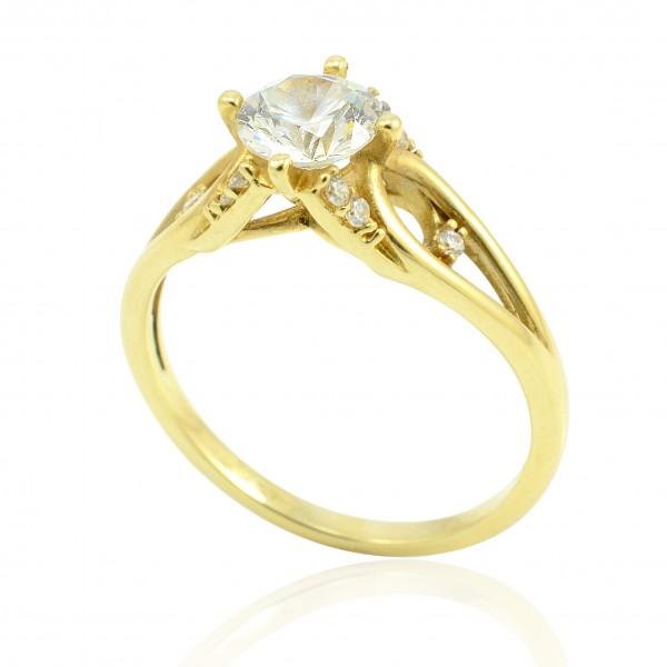 Zásnubný prsteň zo žltého zlata Karin so 6mm zirkónom