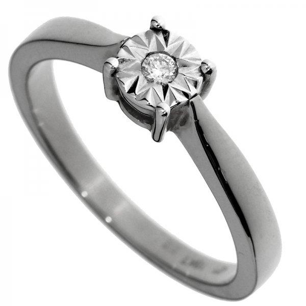 Zásnubný prsteň z bieleho zlata s briliantom