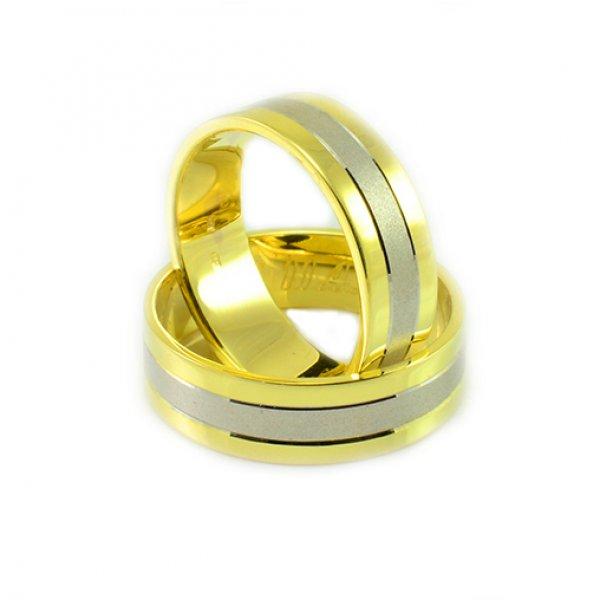 Svadobné obrúčky zo žltého a bieleho zlata bez kamienkov