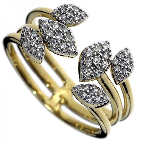 Prsteň zo žltého zlata s briliantmi - Lístky