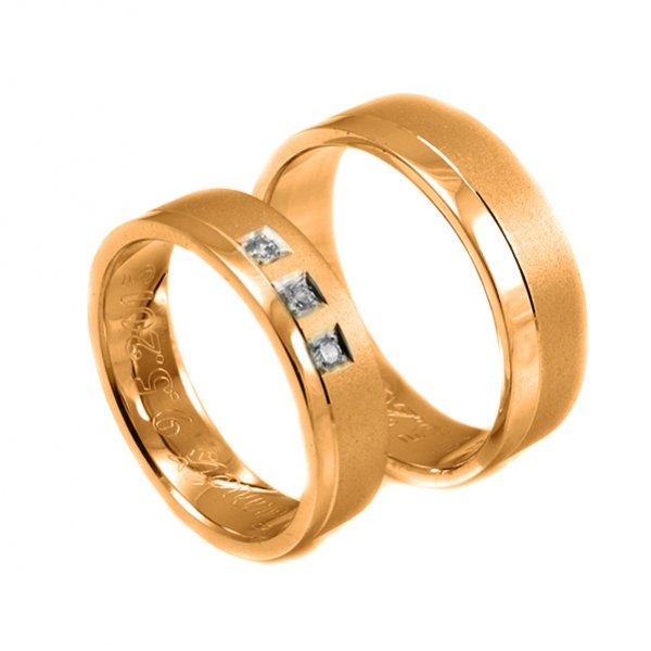 Svadobné obrúčky z červeného zlata široké 6 mm