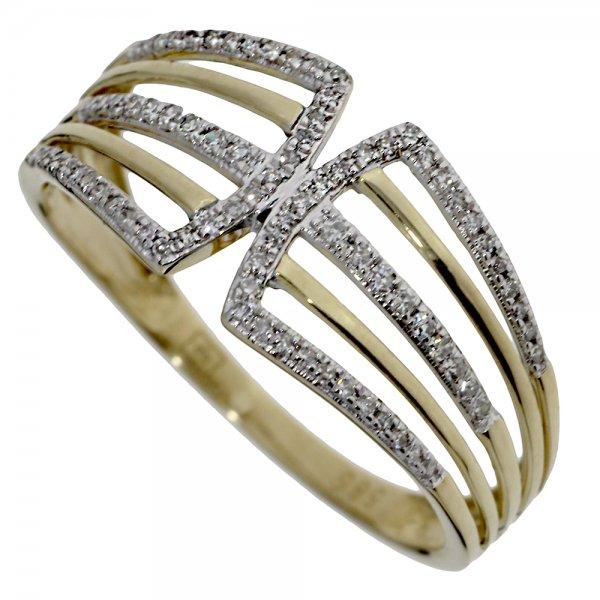 Prsteň zo žltého zlata s briliantmi.