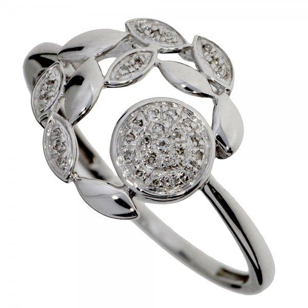 Prsteň z bieleho zlata s briliantmi