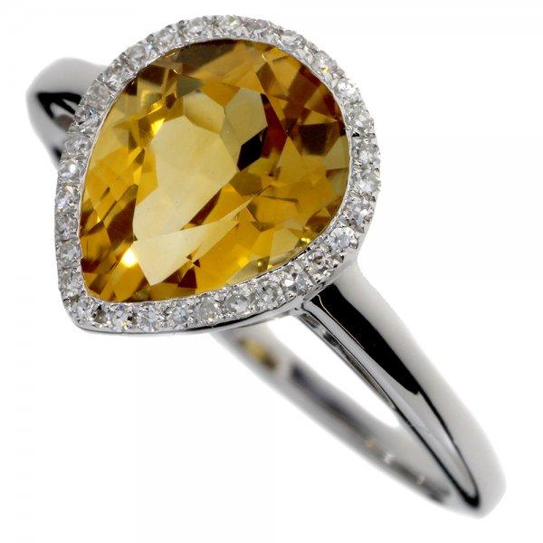 Prsteň z bieleho zlata s briliantmi a citrínom.
