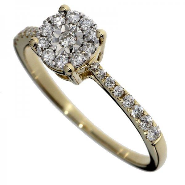 Zásnubný prsteň zo žltého zlata s briliantmi