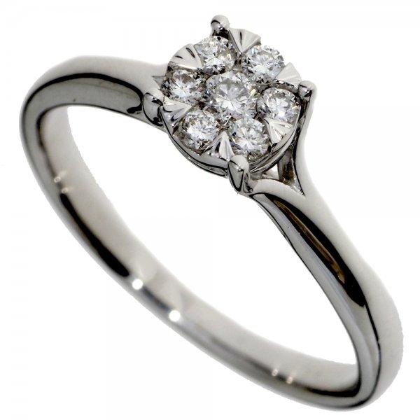 Zásnubný prsteň z bieleho zlata s briliantmi