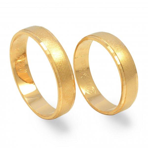 Svadobné obrúčky z červeného zlata mierne polgulaté široké 4.4 mm