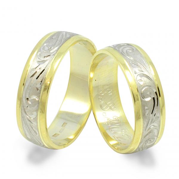 Svadobné obrúčky zo žltého a bieleho zlata -  vzorované