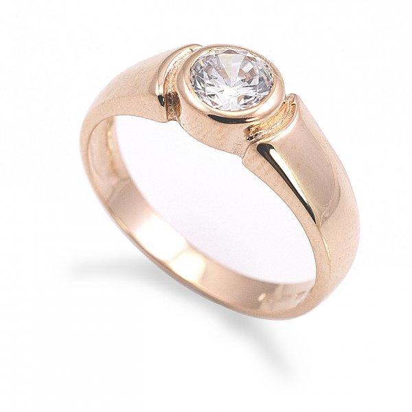 Zásnubný prsteň z červeného zlata Stela- centrálne osadený zirkón