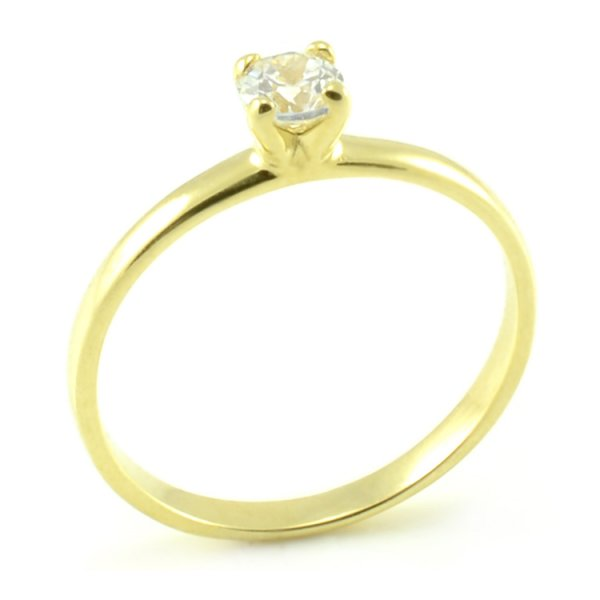 Zásnubný prsteň zo žltého zlata - centrálny zirkón 4 pracky Laura