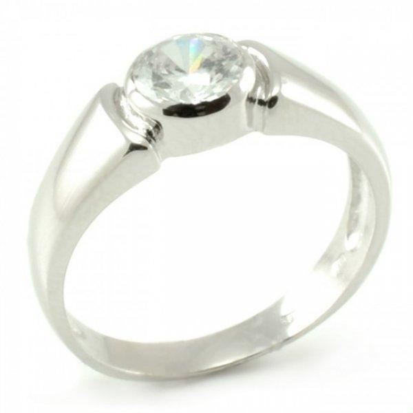 Zásnubný prsteň z bieleho zlata Stela- centrálne osadený zirkón