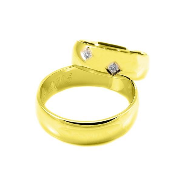 Svadobné obrúčky zo žltého zlata polguľaté široké 6 mm s kamienkami