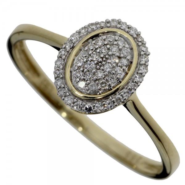 Prsteň zo žltého zlata s briliantmi - Ovál
