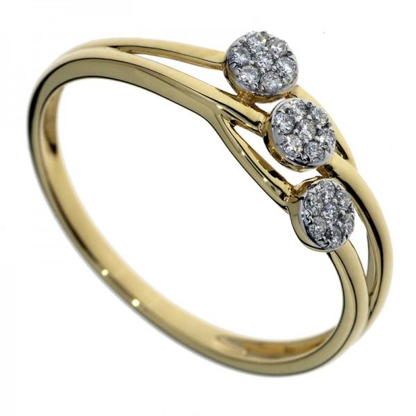 Prsteň zo žltého zlata s briliantmi - Kvetinky
