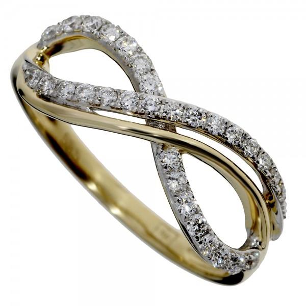 Prsteň zo žltého zlata s briliantmi - Nekonečno