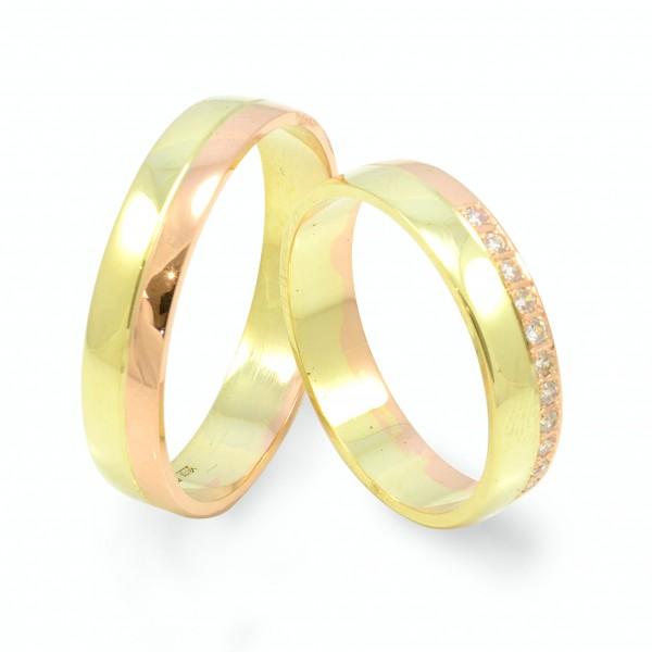 Svadobné obrúčky zo žltého a červeného zlata s 11 zirkónmi