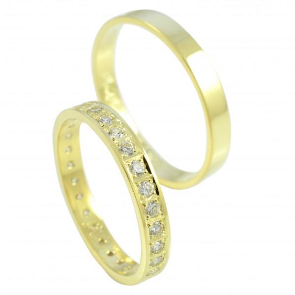 Svadobné obrúčky zo žltého zlata multikameňové - ploché