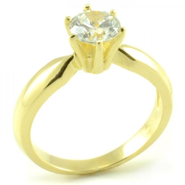 Zásnubný prsteň zo žltého zlata - zoštíhlené telo a zirkón veľkosti 6 mm