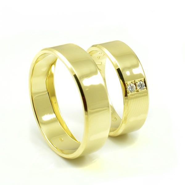 Svadobné obrúčky zo žltého zlata zrazené hrany