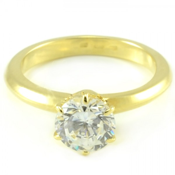 Zásnubný prsteň zo žltého zlata so 7 mm veľkým centrálnym zirkónom Hana
