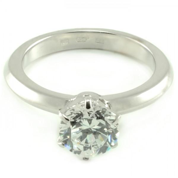 Zásnubný prsteň z bieleho zlata Hana so 7 mm veľkým centrálnym zirkónom