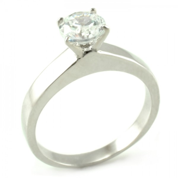 Zásnubný prsteň z bieleho zlata s centrálnym zirkónom medzi 4 prackami Lea