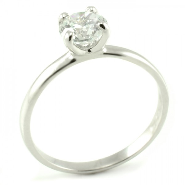Zásnubný prsteň z bieleho zlata s veľkým centrálnym zirkónom veľkosti 6 mm Lujza