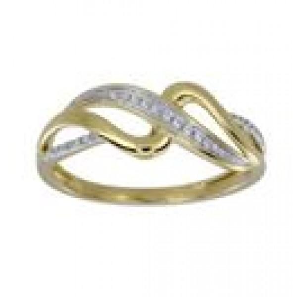 Prsteň zo žltého zlata s briliantmi - Vlnky